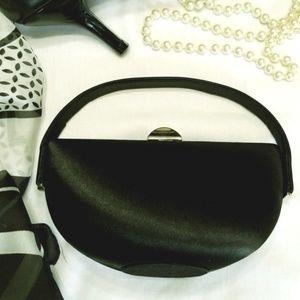 La Regale Black Matte Satin Special Occasion Bag